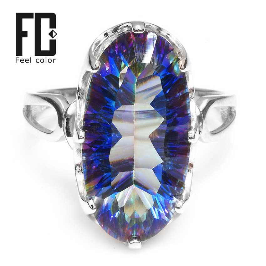 Brand Wholesale New 8ct Striking Rainbow Fire Mystic Topaz Ring For Lady Birthday Gift. 925 Solid Sterling Silver Size 6 7 8 9
