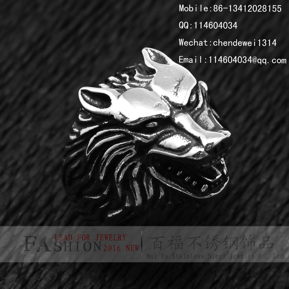 Strong Mens Stainless Steel Mens Animal Wild Wolf Head With Big Ring(China (Mainland))