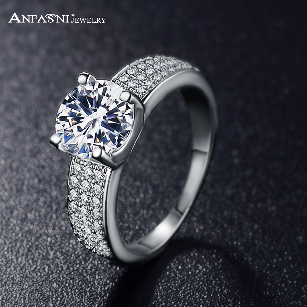 ANFASNI New Arrival High End Engagement Rings Silver Gold Plated AAA Cubic Zi