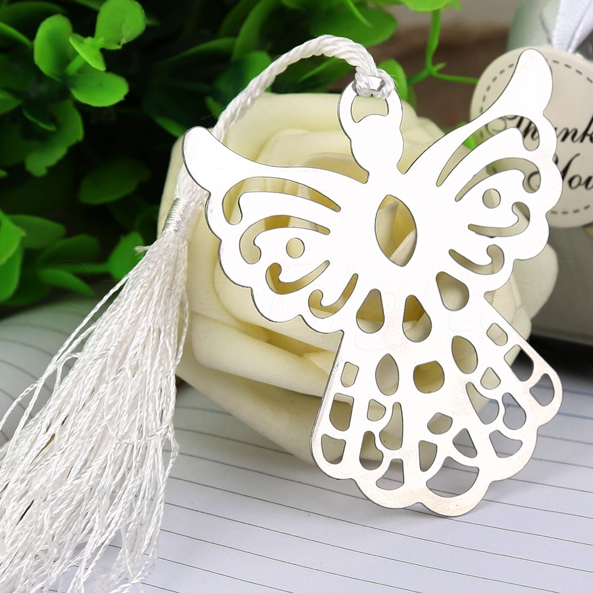 Fashion Guardian Angel Bookmark with White Tassel Baby Shower Christening Wedding Party Favours Classical Gift Free Shipping(China (Mainland))