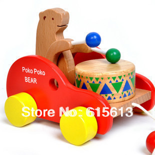 FREE Shipping New Arrival Children Wooden Toys Educational Early Development Toys The Dragging and drumming teddy bear QT004