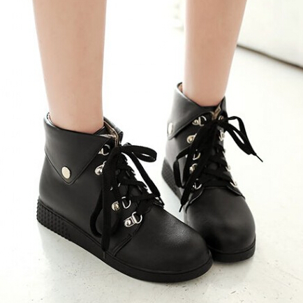 2015 Arrival Women Flat Boots Soft Leather Lace Up Round Toe Platform Ankle Boots Black White Brown Fashion Casual Martin Boots