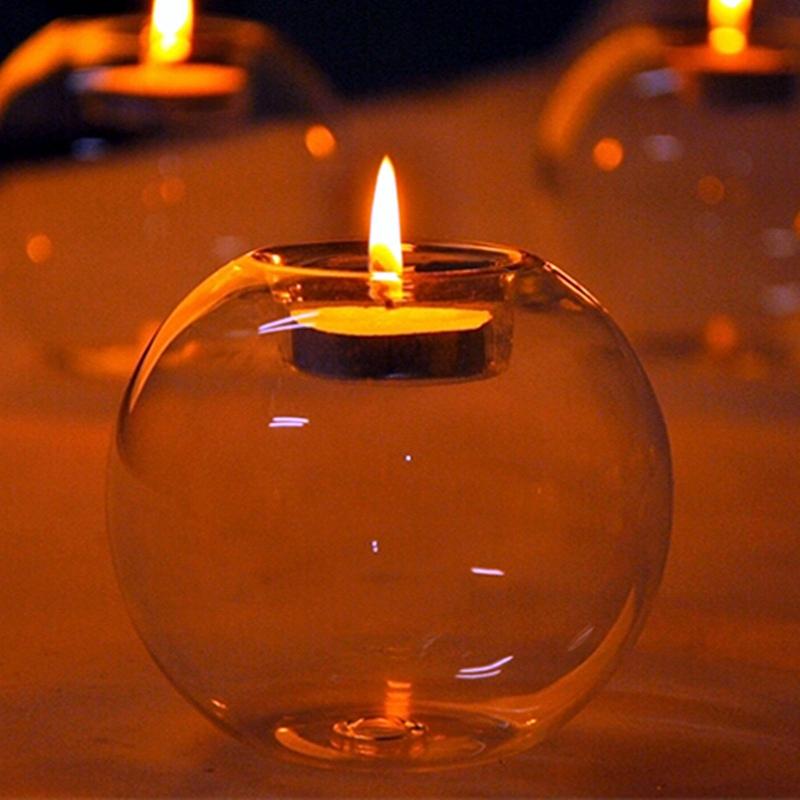 Hot Sale Fashion Transparent Round Shape Glass Candle
