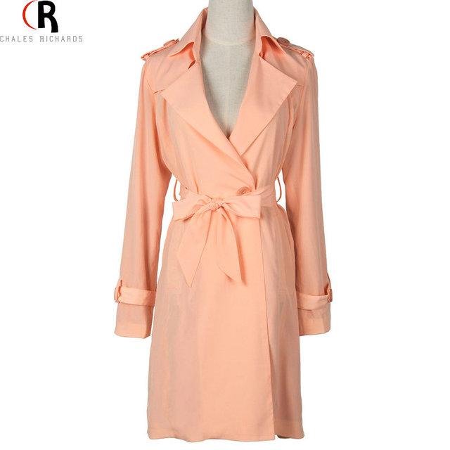Розовый тонкий пояса поясом винтаж свободного покроя ярус пальто осень с длинным ...