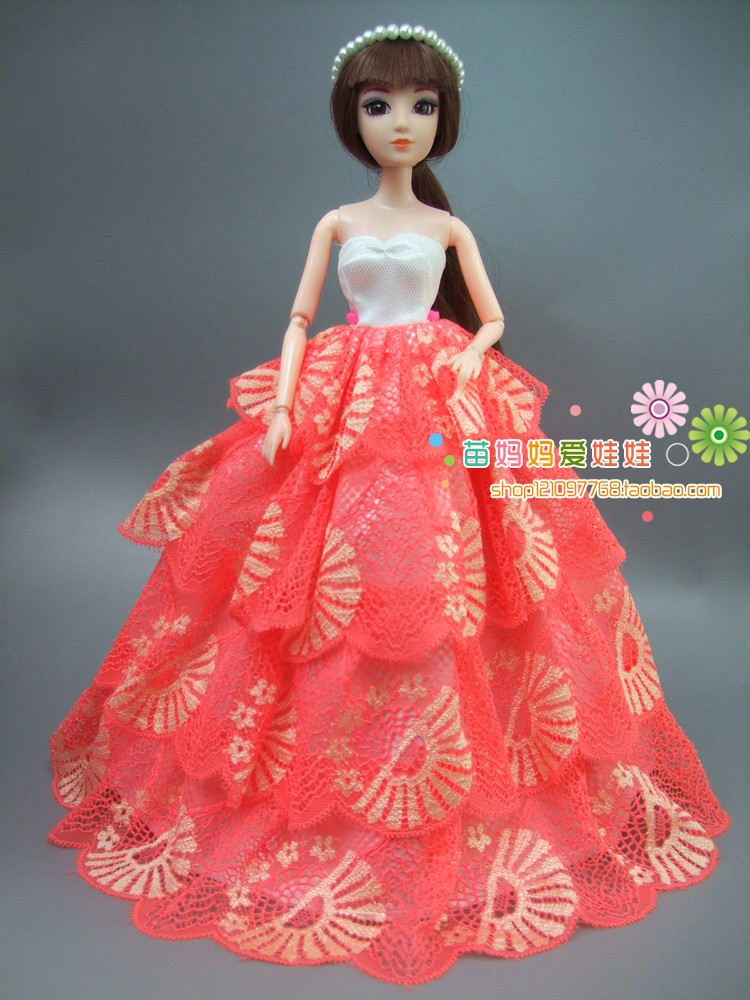 new arrvial assortment Luxurious four layers lace bride gown for barbie doll for 1/6 bjd doll Style royalty doll