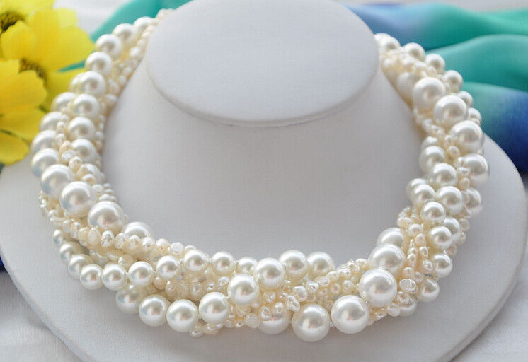 7strands 12mm round white shell pearl baroque south sea necklace 18inch - Attractive -Store store