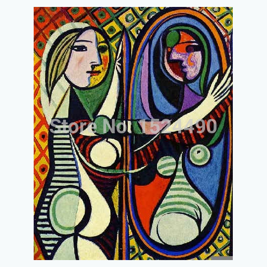 100%Hand Painted Oil Painting Copy Museum Masters Paintings Pablo Picasso Painting Girl In Front Of Mirror Reproduction HY141271(China (Mainland))