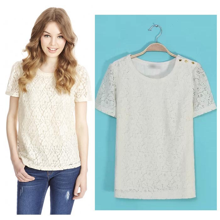 2016 summer nice women shirts o neck solid color sweet for Solid color short sleeve dress shirts