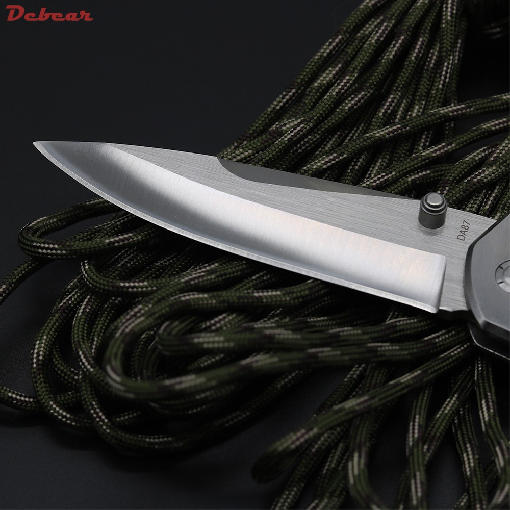 Buy Dcbear Tactical Survival Folding Knife 440C Blade Steel + Resin Handle Bearing Knife Camping Pocket Knives OEM Tools EDC cheap