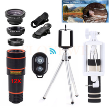 Buy 2017 Mobile lens Kit 12X Telephoto Zoom Lentes Telescope Fisheye Wide Angle Macro Lenses Microscope iPhone 6 6s 7 Huawei HTC for $16.11 in AliExpress store