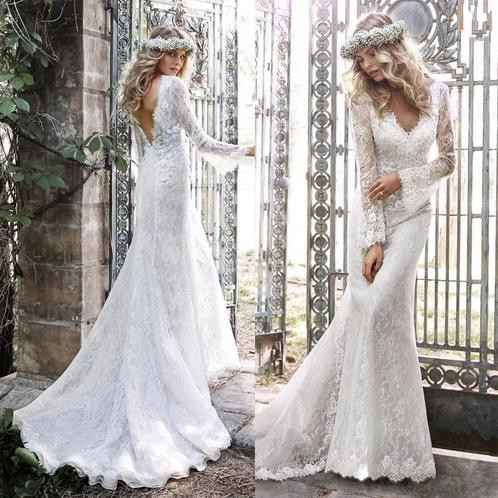 Sexy backless hippie style long sleeve lace mermaid boho for Vintage mermaid style wedding dresses