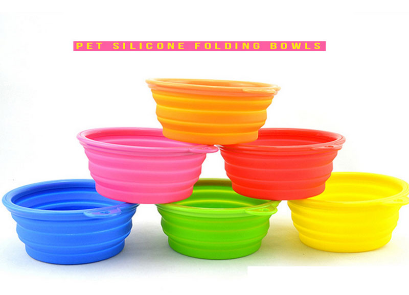 Folding Silicone Pet Bowl For Both Food and Water Portable Travel Dog Bowl or Cat Bowl Free Carry Hanging Hook(China (Mainland))