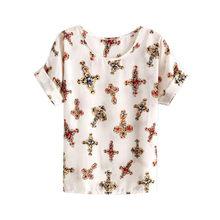 Jlong Verão Mulheres Chiffon Camisetas Tops Soltas de Manga Curta T-shirt Das Senhoras Listrado Coração Lip Tops Camis z1(China)