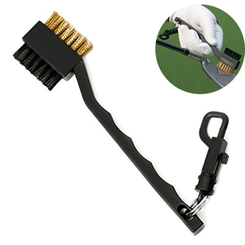 2 Sided Brass Wires Nylon Golf Brush Clip Groove Ball Cleaner Cleaning Kit Tool Useful Free Shipping(China (Mainland))