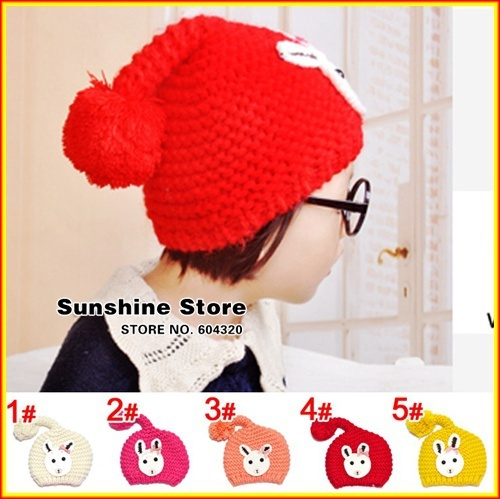 Rabbit hat for children,red winter big beanies for newborns,toddler cap children cap chapeu infantil #2C2681  5pcs/lot(5 colors)