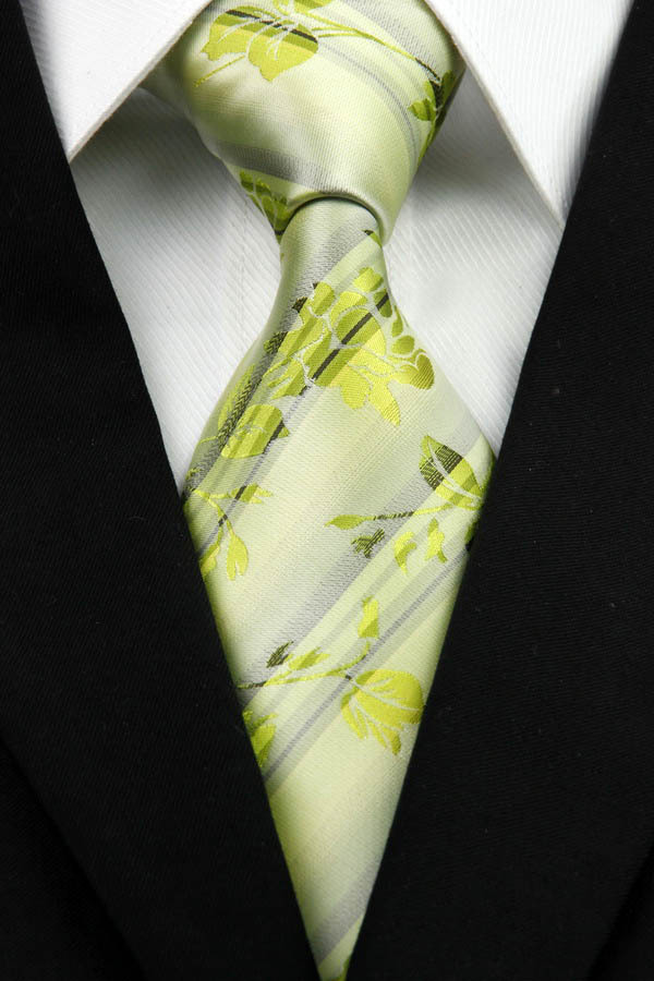 NT0302 Green Gray Floral Man s Classic Business Wedding Party Fashion Tie Luxury Jacquard Woven Silk