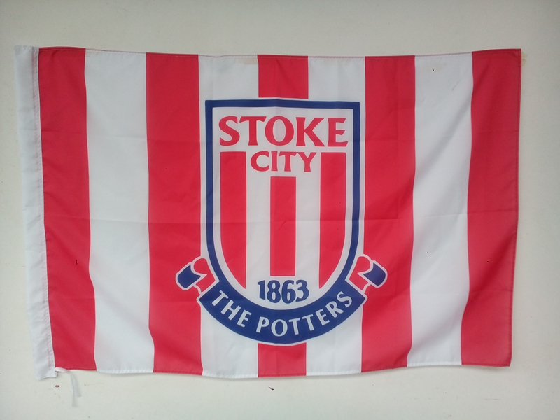 100% Polyester pongee flags,Football team banner without flagpole, custom Stoke City fan sports flag(China (Mainland))