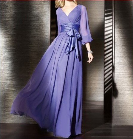 2014 Graceful Gown V Neck Pleat Ruched Empire Waist Full Length Chiffon Purple Elegant Long Sleeve Evening Dresses BC0009 - Beauty Create Dress Store store