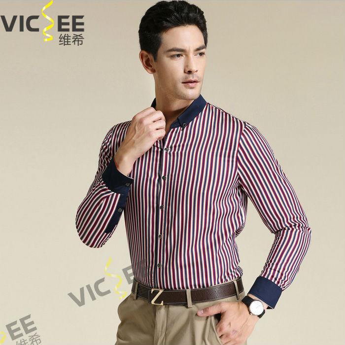 autumn winter long sleeve cosy tribute silk stripe cotton men's business shirt top tees blouse VMS003 - VICSEE International Apparel Ltd store