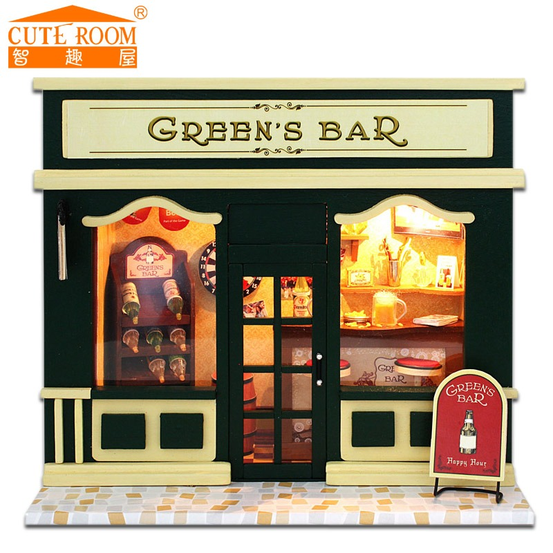 Home Decoration Crafts DIY Doll House Wooden Doll Houses Miniature DIY dollhouse Furniture Kit Room LED Lights Gift bar(China (Mainland))