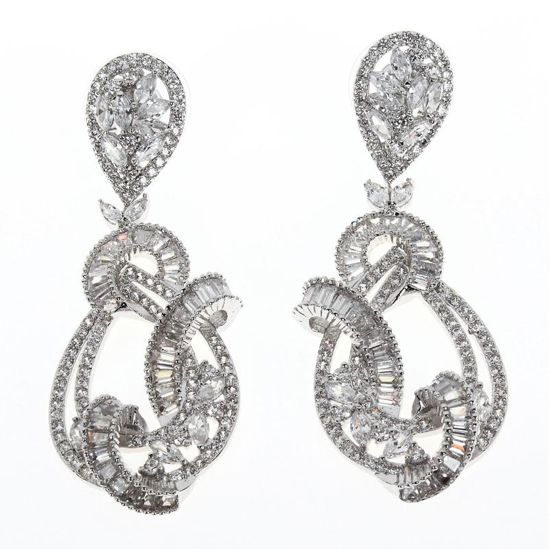 New  Design Luxury Drop Earrings For Women Weeding Gift Flower Shape Prong Setting Full AAA Cubic Zirconia Free Shipping <br><br>Aliexpress