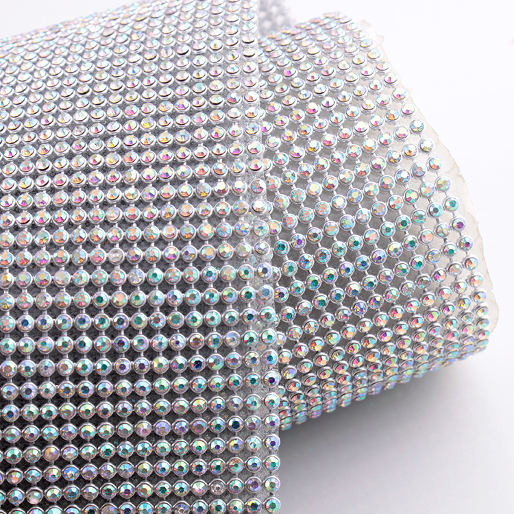 Hotfix Aluminum mesh 45*120CM SS8 CrystalAB Rhinestone mesh for Motif rhinestones free shipping(China (Mainland))