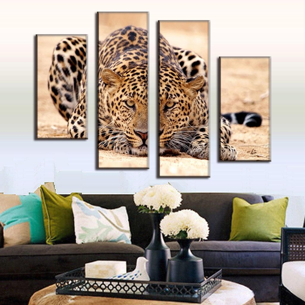 Excellent huge size modern 4 pieces animal oil painting for Home decoration pieces