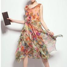 2016 Women Summer Silk Casual Dress Sleeveless Floral Print Plus Size Chiffon Dress Women Slim Ruffle Vintage Midi Dress(China (Mainland))
