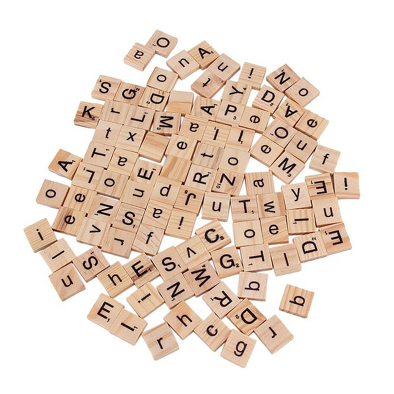 Beautiful 2016 free shipping New Arrival 100 Wooden Alphabet Scrabble Tiles Black Letters & Numbers For Crafts Wood is Burlywood(China (Mainland))