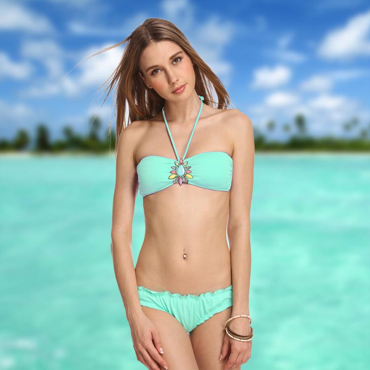 USA Crystal Diamond Two Pieces Swimsuit Bikini Bathing Hot Spring Dress Bathing Halter Promotion Bandage Whit 364-015-098(China (Mainland))