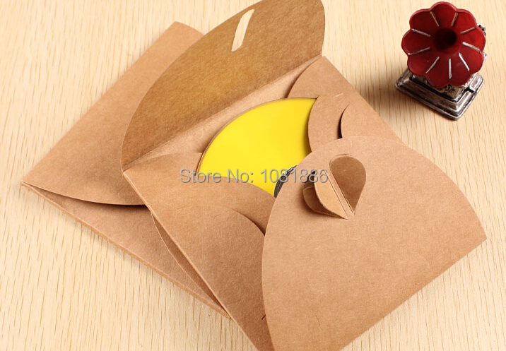 Size 13*13cm Kraft Paper CD DVD Case wedding party Envelopes Sleeves CD Cover Bag Box Holder Wholesale for wedding(China (Mainland))