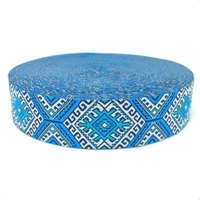 HOT!!! 2015 NEW  wholesale 7/8'' 22mm Wide Blue geometric series Woven Jacquard Ribbon dog chain accessories 10yards/lot