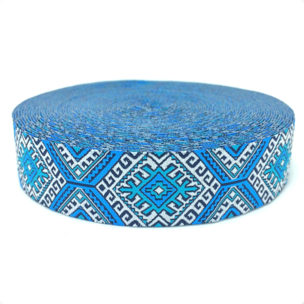 HOT!!! 2015 NEW wholesale 7/8'' 22mm Wide Blue geometric series Woven Jacquard Ribbon dog chain accessories 10yards/lot(China (Mainland))