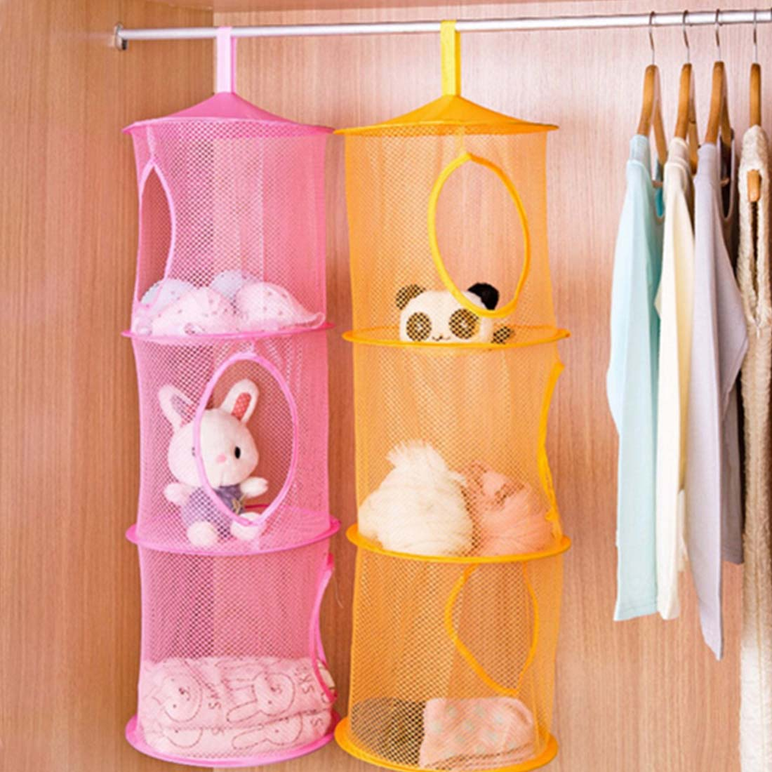Hanging Bags 3 Shelf Hanging Storage Net Kids Toy Pocket Pouch Bag Bedroom Wall Door Closet Clothes Storage Rack Hangers(China (Mainland))