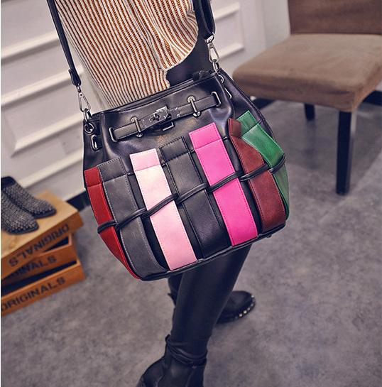2016 new European style checkered color of the stitching drawstring bucket bag shoulder bag personality Messenger bag handbag<br><br>Aliexpress