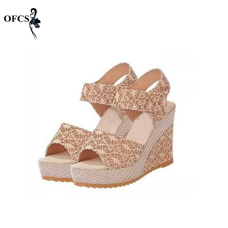 Best-Selling Women Sandals Size 35-40 Summer New Open Toe Fish Head platform High Heels Wedge Sandals female shoes women shoes(China (Mainland))