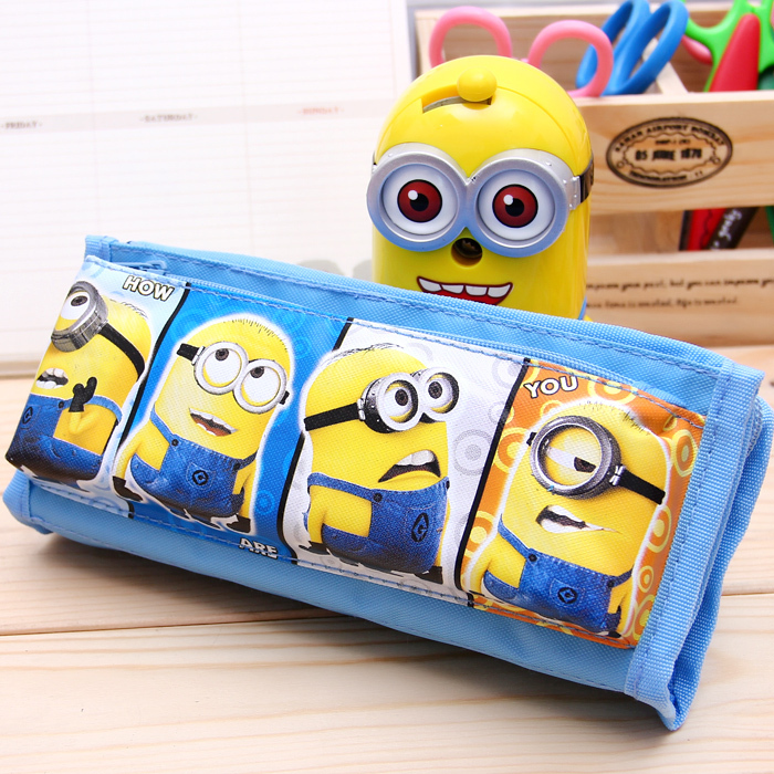 Free Shipping!cute Cartoon Zippers Pencil Bag,Small yellow man hello kitty Conan Pencil Case, Very Good Quality Pen Case(China (Mainland))