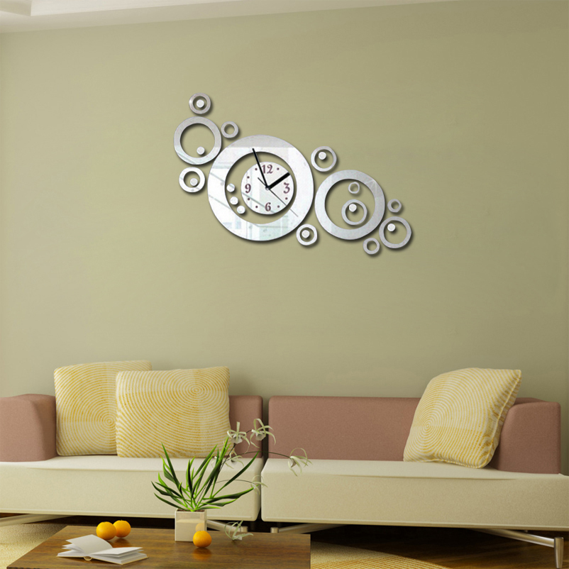 2016 rushed living room acrylic wall clock clocks reloj de pared horloge quartz watchhorloge. Black Bedroom Furniture Sets. Home Design Ideas