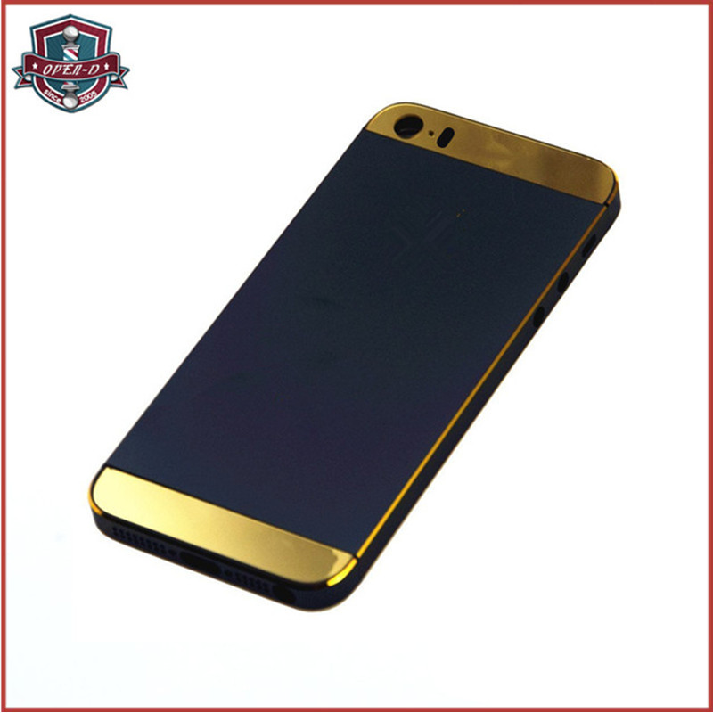 hq electroplate gold color logo and edge for iphone 5s
