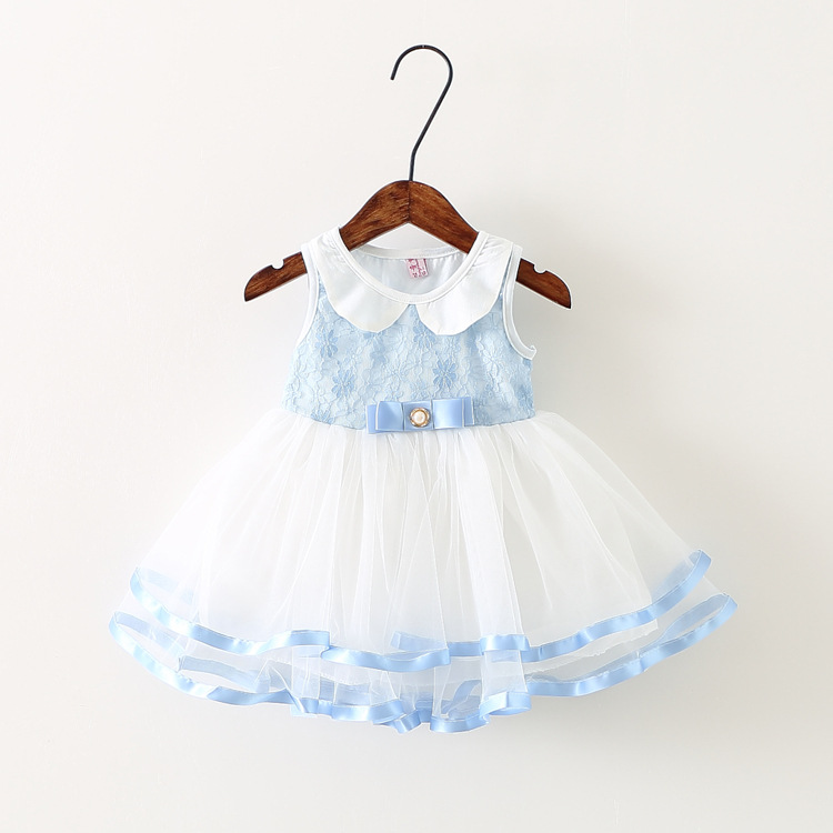summer Lolita Style Baby Girls Lace Dress Infants mesh patchwork Party Princess Tutu Dresses Y1768(China (Mainland))