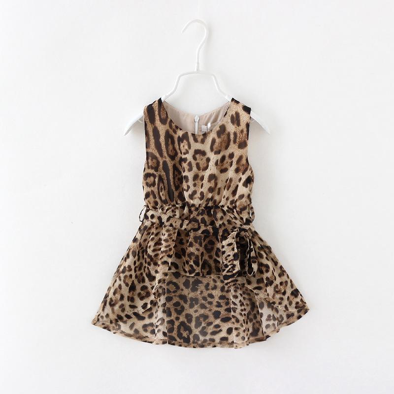 2014 summer new arrival children dresses fashion girls Leopard dress, kids chiffon dress,baby girl's dress(China (Mainland))