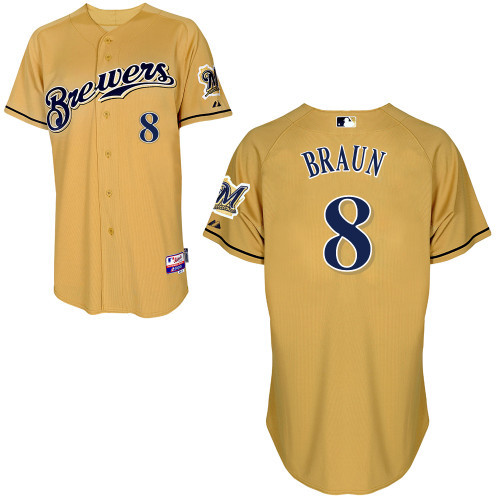 Ryan Braun Baseball Jerseys Milwaukee Brewers #8 Authentic Baseball Jerseys Embroidery stitched onfield Home Color Top(China (Mainland))