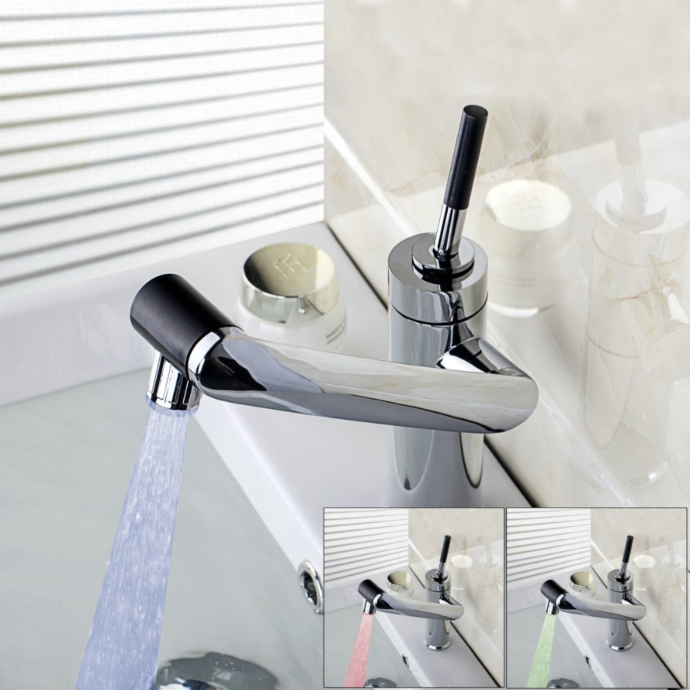 New for kitchen bathroom sink faucet led light swivel - Bathroom faucets with led lights ...