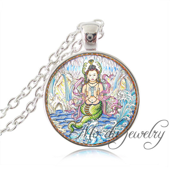 Silver Chain Naga Queen Pendant Guardian of Water Inspiration Jewelry Symbol of Fertility and Feminine Necklace Bijoux Femme(China (Mainland))