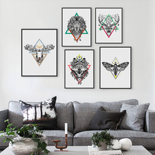 Modern Vintage Retro Black White Deer Lion Head Animals Art Print Poster Hippie Wall Picture Canvas Painting No Frame Home Decor(China (Mainland))
