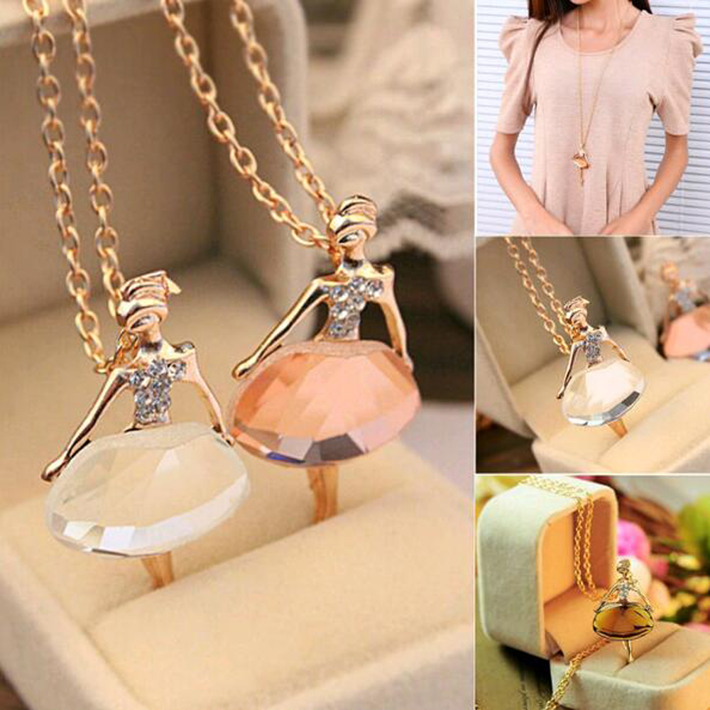 Lowest whole network New fashion girls Ballet Girl Chic pendant choker necklace Bib crystal jewelry party