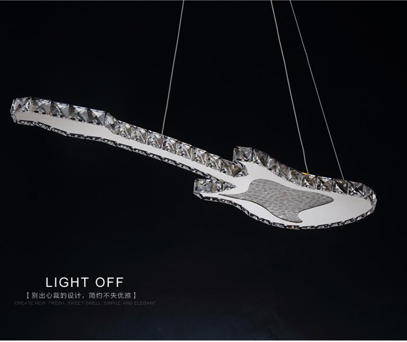 Купить Ecolight Днем 25 Августа Продажи Современные Светодиодные Подвесной Светильник подвесной Светильник Гитара Формы 90-265 В Кристалл Подвесной Светильник для Столовой номер