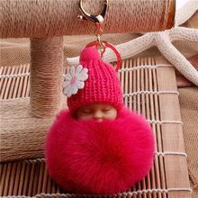 Дропшиппинг Спящая кукла мяч брелок автомобильный брелок держатель сумка подвеска брелок плюшевый мех новый милый женский ключ(China)
