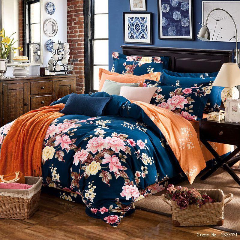 fashion 4pcs floral country boho bedding princess pink