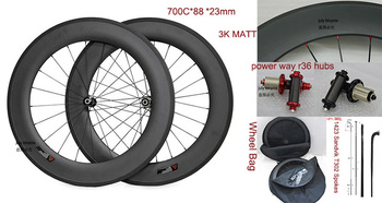 road Carbon wheels 88mm*23mm ,clincher/tubular with powerway r36 hubs, 1432 Sandvik T302 spokes,can be customized Logo,ems shipp